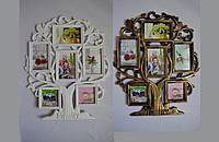 "Декоративная фоторамка Family "" Дерево"" 6 фото белая и бронзовая 1516-1"