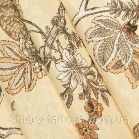 Декоративная ткань для штор, цветочный принт  бежево-золотой