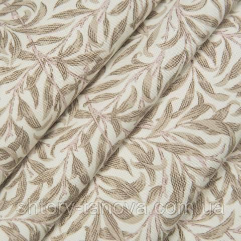 Декоративная ткань для штор, стебельки  бежевый