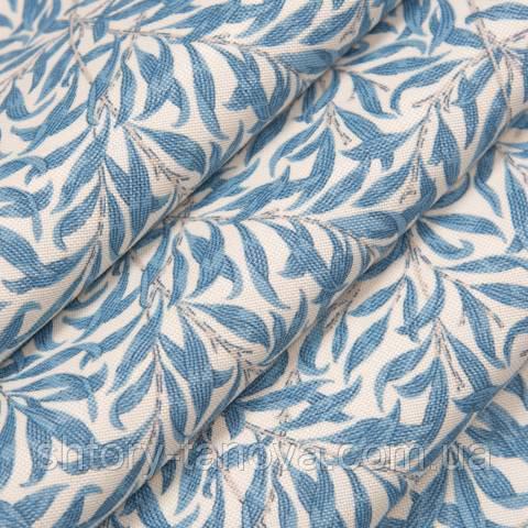 Декоративная ткань для штор, стебельки  голубой