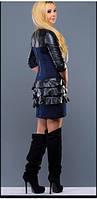 Платье темно синее вечернее нарядное с рюшами теплое, повседневное, молодежное, фото 1