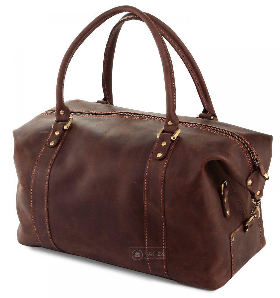 760ba6f72052 Отличная спортивно-дорожная сумка из натуральной винтажной кожи SHVIGEL  00510, Коричневый