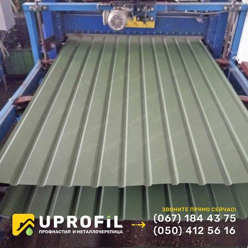 Профнастил стеновой ПС10 для забора Оливковый RAL 6020 матовый 0.40 мм.