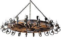 Люстра из дерева Колесо - Телеги 18 ламп Старая Бронза, Дерево Состаренное темное