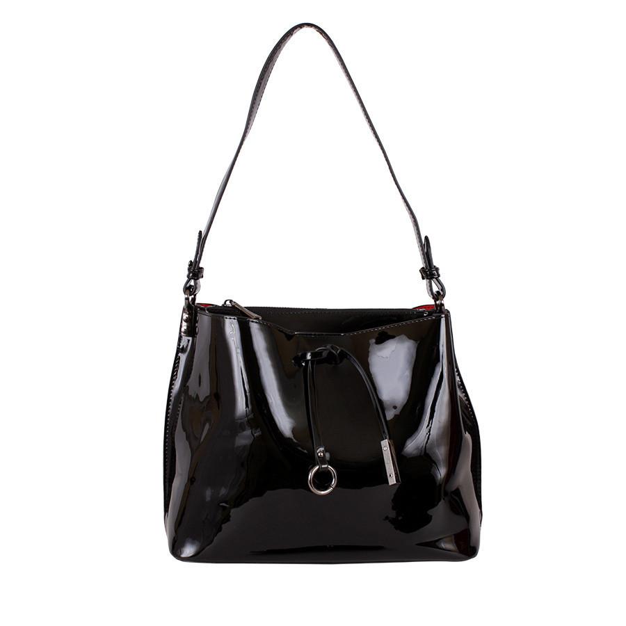 Лакированная сумка черная