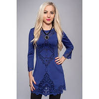 Платье туника с перфорацией синяя