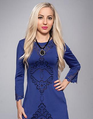 Платье туника с перфорацией синяя, фото 2