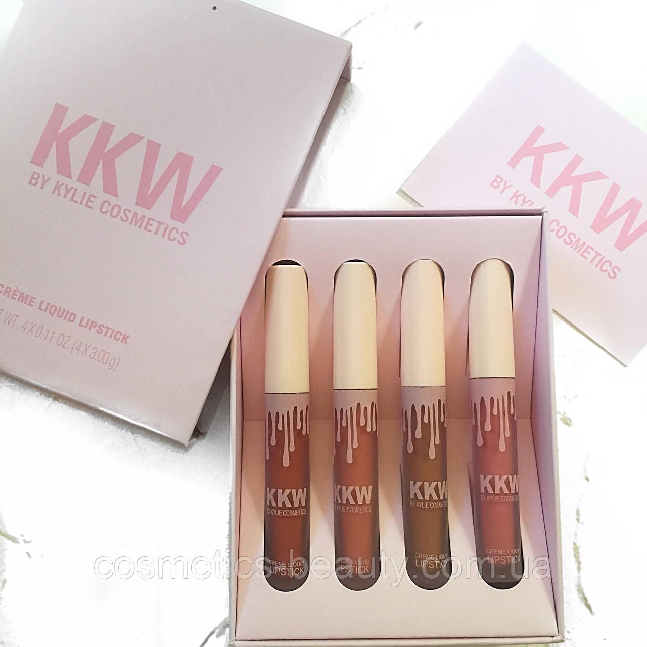 Набор матовых помад Kylie KKW Creme Liquid Lipstick 2 (4 шт.)(реплика).