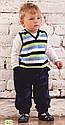 Детские велюровые штаны темно-синие для мальчика р. 74, 80, 92 см  (Nicol, Польша), фото 3