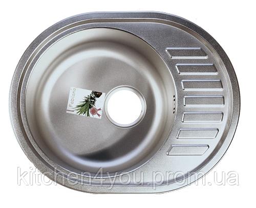Овальная кухонная мойка Fabiano 57х45 нержавеющая сталь, микродекор