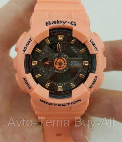 e8abd1bc84 Casio Baby-G Analog Digital 100M Orange Black Sport Watch BA-111-4A2, BA111