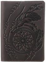 Дизайнерская обложка на паспорт из натуральной кожи SHVIGEL 13793, Коричневый