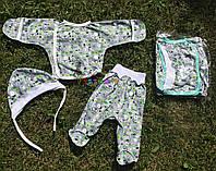 Комплект для новорожденного кулир (распашонка+ползунки+шапочка) 56-62 р-р, серый, фото 1