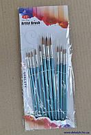 Кисти художественные 12 шт, острый конец - синие (комплект)