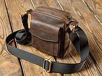 173fea326d7e Вместительная маленькая мужская сумка из натуральной кожи, Коричневый