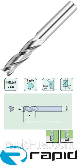 Плоский Торец 3 Зуба  D 6 d 6 L80 I 40 z 3 Спиральная.