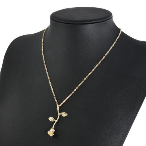 Нежный женский кулон из металла в виде розы с цепочкой «Rose» (золото)