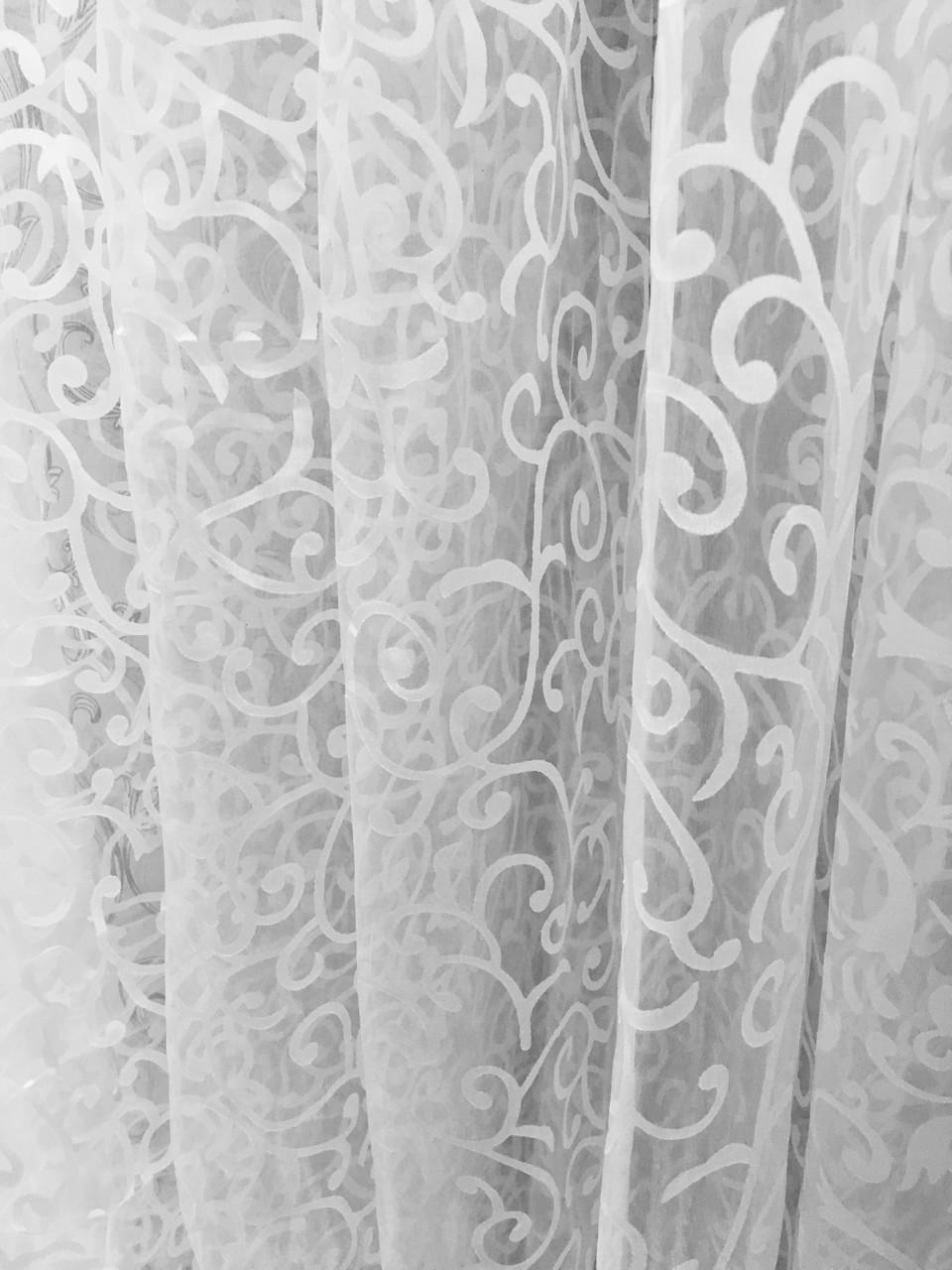 Тюль  готовая Завиток белый, 3метра