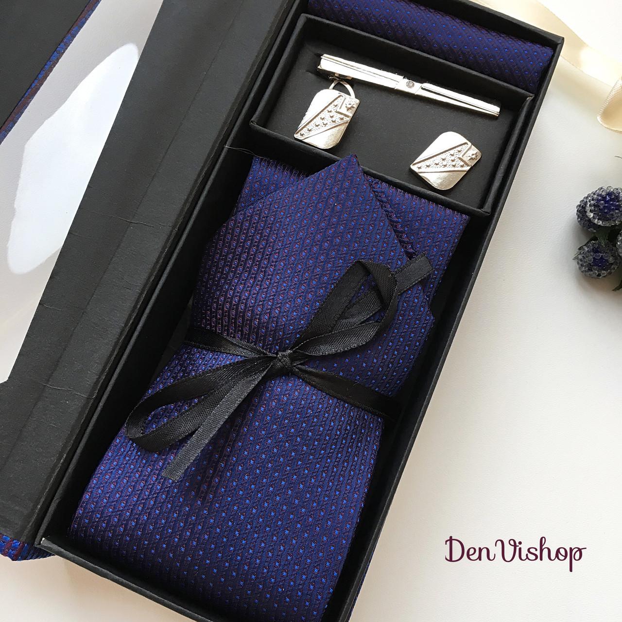 """Стильний Чоловічий подарунковий набір """"Лорд"""": краватка, костюмний хустку, запонки, затиск. Roberto Gabbani."""