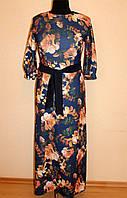 Трикотажное платье с цветами 44-50 р