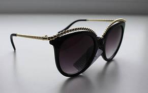 Фигурные солнцезащитные очки для женщин с золотистой окантовкой, фото 2