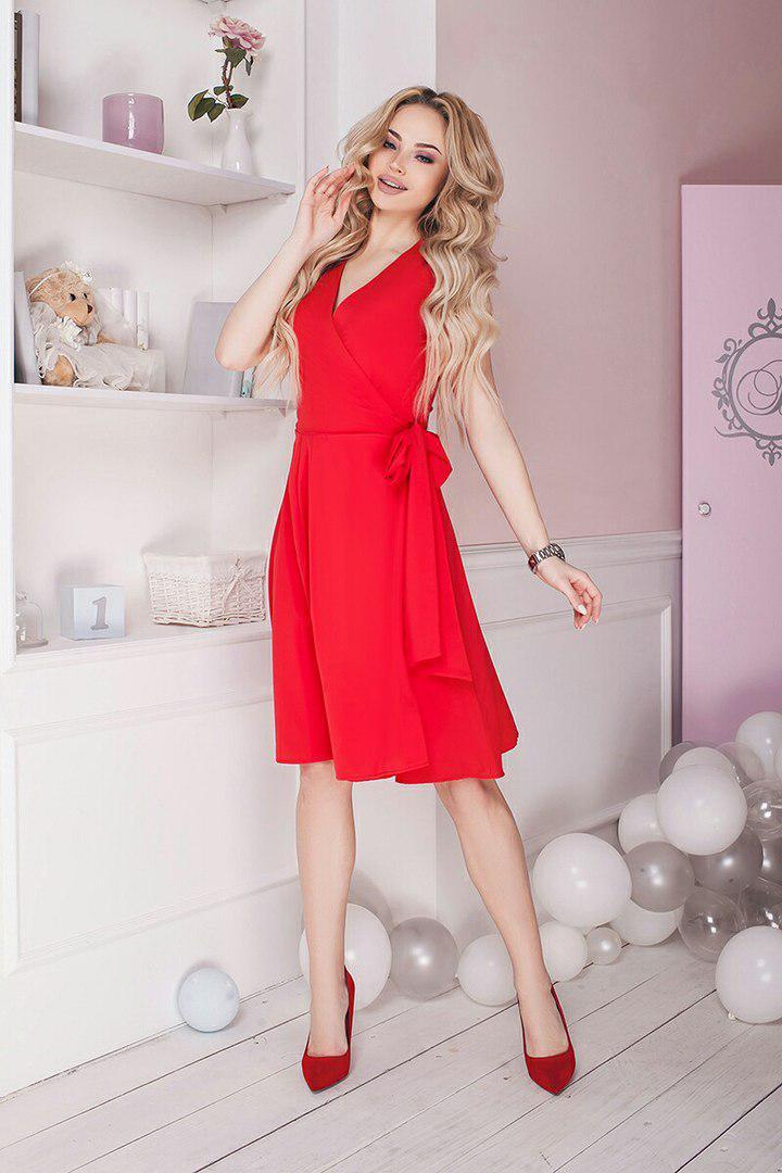 Платье  на запах с коротким рукавом  / 4 цвета  арт 5863-121