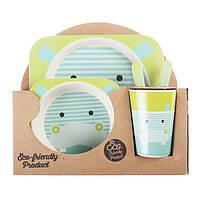 Набор детской посуды из бамбука 5 предметов Hippo Eco