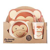 Набор детской посуды для еды из бамбукового волокна Monkey Eco