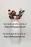 "Ваза для цветов ""Луиза"" кожа белая 68см"