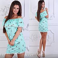 Платье короткое, с воланами на плечах. Размеры:42,42,46,48. Три цвета код 5699Ц, фото 1