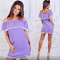 Платье однотонное короткое, с воланами на плечах. Размеры:42,44,46,48. Четыре цвета код 5700Ц, фото 1