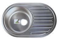 Овальная кухонная мойка Fabiano 77х50 (0,8 мм.) нержавеющая сталь, микродекор