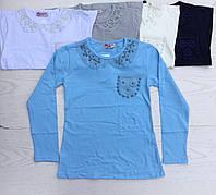Кофта школьная для девочки 8-16 лет голубого,белого,молочного,синего цвета с длинным рукавом с кружевом оптом