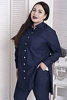 4b2797bfb1b Джинсовая женская рубашка больших размеров Фактор