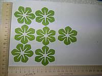 Термо клеевая аппликация зеленый цветок №2