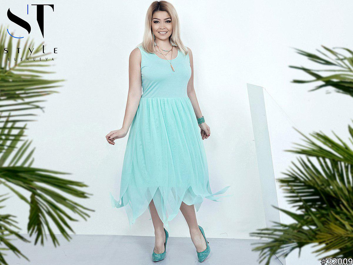 Платье больших размеров 48+ с асимметричной юбкой из сетки с подкладкой / 3 цвета арт 5866-121