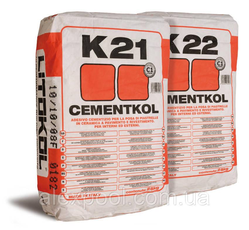 Litokol CEMENTKOL K22 (белый) 25 кг - цементный клей для плитки и керамической облицовки  ( K220025  )