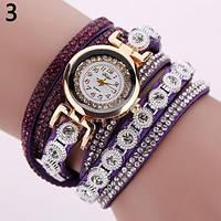 Часы браслет с камнями фиолетовый