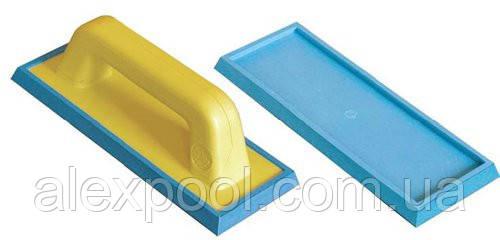 Шпатель затирочный со сменной мягкой голубой резиной. (9,5x24,5 см) 13695x245C