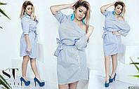 Коттоновое платье больших размеров 50+ в полоску спущенное на одно плече / 3 цвета арт 5868-121