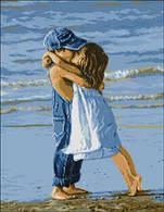 """Алмазная вышивка размер изображения 35х50 - набор """"Дети на пляже"""""""