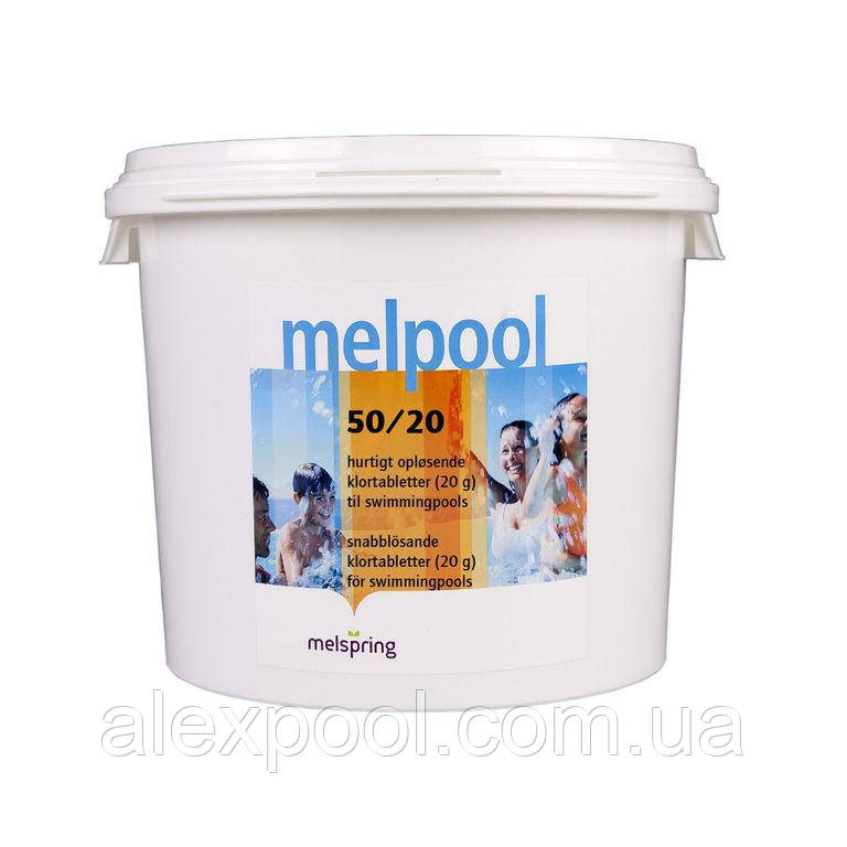 Химия для бассейна Melpool (Melspring) 50/20 - Шок-хлор стабилизированный, таблетки по 20 гр 5 кг
