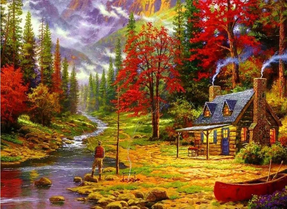 "Алмазная мозаика 40х30см - набор ""Осенний пейзаж""2"