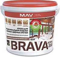 Краска MAV BRAVA ACRYL 35D для профессиональной отделки оконных и дверных систем Белая полуглянцевая 20 литров