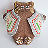 Кофейный мишка в кожушке сидячий. Украинский сувенир.