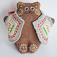 Кофейный мишка в кожушке сидячий. Украинский сувенир., фото 1