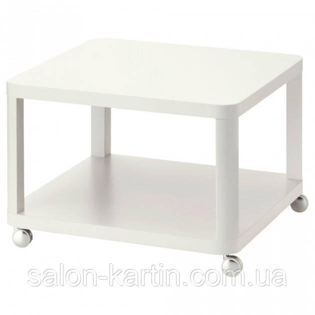 Белый журнальный столик на колесиках