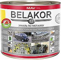 Емаль MAV BELAKOR 12 по металу атмосферостійка швидковисихаюча Мокрий асфальт RAL 7012 1 літр