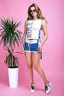 """Donna-M Костюм с шортами """"Индиго"""" (белый+джинс) 2000000046198, фото 1"""