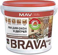 Акриловый лак MAV BRAVA ACRYL 43 без запаха на водной основе для окон и дверей Золотистый тик 3 л